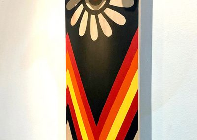 "Journey to the Past, 32"" x 8.5"", 2018, Skateboard, $3250"