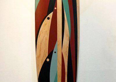 """Salish Wonder, 44"""" x 9.5"""", 2018, Skateboard (Salish Storyboard Deck), $3450"""